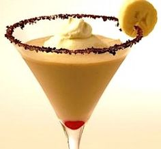 BANANA SPLIT MARTINIS: In the mood for a Banana Split? Instead of scooping ice cream and peeling bananas, try this creamy cocktail!