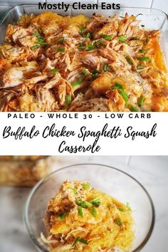 This Buffalo Chicken Spaghetti Squash Casserole from Mostly Clean Eats is the perfect Paleo recipe. It's simple easy and just four ingredients. Grain free and low carb/keto friendly. This is the recipe the whole family will love to eat. Paleo Casserole Recipes, Slow Cooker Casserole, Paleo Recipes, Dinner Recipes, Paleo Dinner, Buffalo Chicken Spaghetti Squash, Cooking Spaghetti Squash, Spaghetti Squash Casserole, Huhn Spaghetti