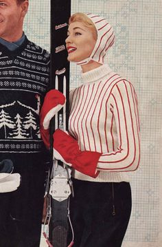 1950s Vintage Ladies Striped Ski Sweater with Cap by knitsomuch