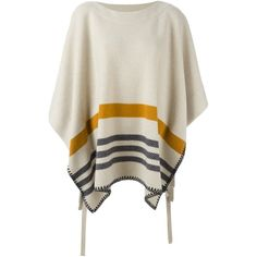 Chloé 'Romance' Striped Poncho ($1,395) ❤ liked on Polyvore featuring outerwear, white poncho and striped poncho