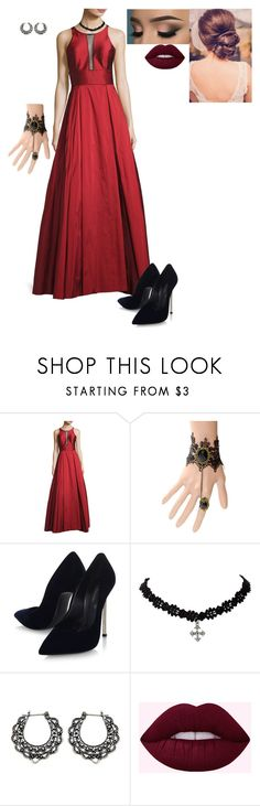 """prom look"" by hermine-fragonn ❤ liked on Polyvore featuring Aidan Mattox, WithChic, Casadei and NOVICA"