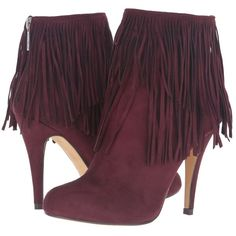 Michael Antonio Melvins (Burgundy Suede) Women's Dress Boots (€60) ❤ liked on Polyvore featuring shoes, boots, ankle booties, ankle boots, stiletto ankle boots, pointed toe booties, fringe ankle boots, burgundy suede booties and pointy-toe ankle boots