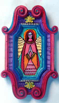 Original Mexican Folk Art Painting Virgin of Guadalupe Angel SMALL Ornate FRAME