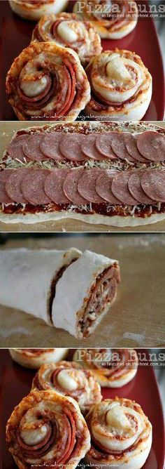 Pizza Buns Recipe OMG could eat these now yum Pizza Recipes, Appetizer Recipes, Cooking Recipes, Appetizers, Skillet Recipes, Cooking Tools, I Love Food, Good Food, Yummy Food