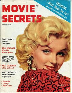 Marilyn Monroe on the cover of Movie Secrets magazine, February USA. Cover photo of Marilyn in publicity for Gentlemen Prefer Blondes, Marylin Monroe, Marilyn Monroe Movies, Marilyn Monroe Portrait, Marilyn Monroe Photos, Marilyn Film, Cinema Tv, Hollywood Cinema, Vintage Hollywood, Marlene Dietrich