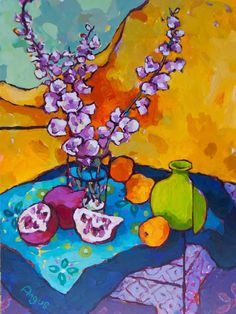 Angus Wilson Studio: 'One on one' art workshop  Delphinium with Apricots and Poms 24X18               Acrylic on panel