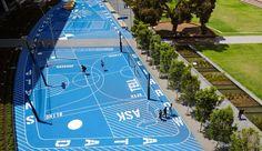 TCL_Monash-Uni-Caulfield-Campus-Green_Andrew-Lloyd-07 « Landscape Architecture Works | Landezine landschap omgevingsaanleg blauw speelplein speelplaats sport sportveld basket tafeltennis