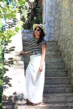 A quick outfit shooted on the French Riviera where I spend my holidays in my family home. I'm wearing my new long white skirt which is perfect against the intense weather of southern France because it's thin and ethereal. // My Style Influencer : Striped Top Monoprix / Long Skirt H & M / Wedges New Look / Hat Panama Asos / Sunnies Forever 21