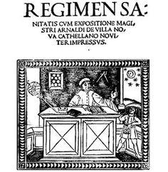 09- Vilanova.  Portada de una edición de 1480 de Regimen Sanitatis.