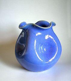 Georgia Art Pottery ~ Royal Blue Pinch Vase ~ WJ Gordy