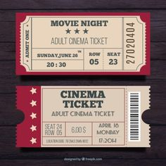 Set of two cinema pass in vintage style Free Vector Ticket Cinema, Cinema Party, Cinema Box, Movie Ticket Template, Receipt Template, Halloween Vintage, Outdoor Movie Nights, Ticket Design, Movie Night Party