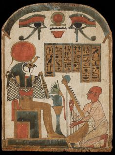 Djedkhonsouiouef-ankh playing for Ra-Horakhty. At the Louvre
