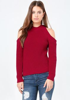 Corner-booth sweater with sexy cold shoulders. Chunky rib knit transitions it to winter. Long sleeves.