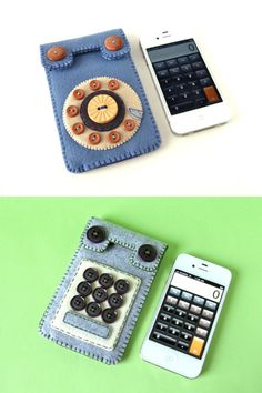 【产品设计/创意】布艺iPhone套,来自现居加拿大的日本女插画家、设计师Hine Mizushima,手工制作,售价54美元,,巧妙的用扣子做出老式拨盘电话的样子