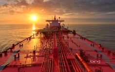 Tanker Ships Oil Tanker Ship Boat Sun Set Sunrise Sun Bing HD Astounding Wallpaper