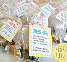 DIY Simple Stress Relief Package and Free Download!  I'm totally making these for my co-workers this Christmas! Ironic part is...I work in a doctor's office! Love this!