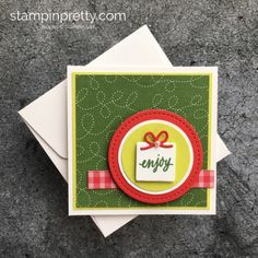 Learn how to create a simple 3 x 3 holiday card using Stampin' Up! Hug a Mug - Mary Fish StampinUp!