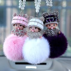 Andybeatty new Pearl Crystal Monchichi Bunny Keychain real fur pom pom Key chain ring women Bag car pendant Bijoux Wire Wrap, S Love Images, Cute Keychain, Keychains, Car Key Ring, Girly Phone Cases, Pom Pom Crafts, Fur Pom Pom, Beautiful Dolls