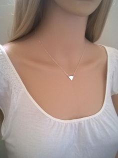 Sterling silver triangle necklace; solid silver triangle; small silver triangle necklace; pretty, everyday necklace