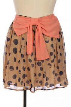 #StyleSays                #Skirt                    #Classy #Sassy #Taupe #Coral #Skirt                 Classy and Sassy Bow Taupe and Coral Dot Skirt                                http://www.seapai.com/product.aspx?PID=1375493