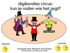 Digibordles Cirus: Weet jij wie het zegt?    Deze les kun je doen als de kinderen weten wie er allemaal optreden in het circus en wat ze kunnen/doen. .  De kinderen horen telkens een zin. Ze moeten raden wie dat gezegd zou kunnen hebben. Als ze op het goede plaatje klikken horen ze de zin nogmaals. Circus Clown, Circus Theme, Primary School, Elementary Schools, School Themes, Net, Projects, Theater, Clowns