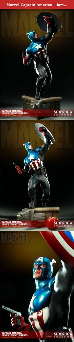 Marvel Captain America - James Bucky Barnes Statue Figure Premium Format Sideshow. The Bucky Captain America Premium Format figure captures every aspect of the MARVEL patriot with stunning realism. Each piece is individually painted and finished, each with its own unique quality and detail that is the trademark of a handcrafted Sideshow Collectibles product. Featuring a stunning display base, real fabric costume detail, and fully loaded utility belt, the Bucky Captain America Premium…