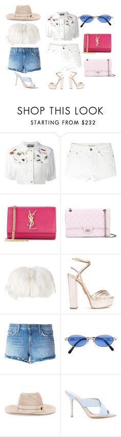 """summer special"" by monica022 ❤ liked on Polyvore featuring Moschino, Yves Saint Laurent, Chanel, Valentino, Aquazzura, J Brand, Jean-Paul Gaultier, Maison Michel, ALEXA WAGNER and vintage"