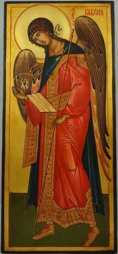 St Archangel Gabriel (full body) -This is a premium quality icon painted using traditional technique - egg tempera, solid lime wood panel, varnish, gold leaf. A matching set icon of St Archangel Michael in the same size and style can be found here. About our icons Blessedmart offers hand-painted religious icons that follow the Russian, Greek, Byzantine