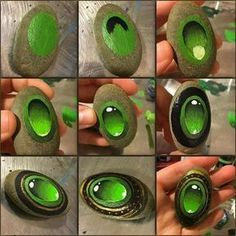 Picture tutorial for painting a jewel on stone!