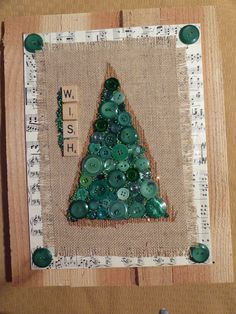 Vintage green buttons, burlap, antique sheet music and Scrabble tiles on pallet board. Retro Christmas, Christmas Items, Christmas Crafts, Pallet Boards, Mixed Media Artwork, Scrabble Tiles, Green Ideas, Repurposed Items, Vintage Green