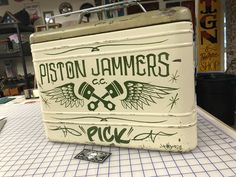 Pinstripe Art, Bobber Style, Pinstriping, Coolers, Man Cave, Original Artwork, Garage, Hand Painted, Logos