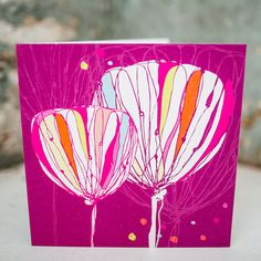 'Dotty Tulips' Card exclusively hand drawn  designed by Rachael! Professionally printed in the UK.