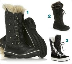 3 top women's boots for winter from Sorel, Kamik, Santana Canada. Love how versatile they are -- stylish without looking like they'll be dated in a month.