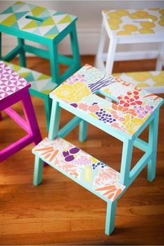 Brighten up a Bekväm step stool with a few sheets of removable wallpaper. #DIY Easy DIY Ideas, Craft Ideas