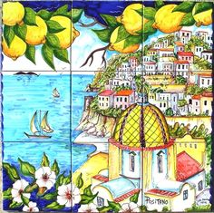 Ceramic Murals For Kitchen Backsplash - Coast of Positano Italy - Hand Painted Art Tile - Bathroom Tile Wall Art - Outdoor Wall Tiles Mosaic Backsplash, Mosaic Tiles, Kitchen Backsplash, Wall Tiles, Countertop, Tile Murals, Tile Art, Positano Italien, Italian Tiles