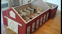 A Tour Of My Homemade Schleich Barn from Craft Sticks and a Box. Ill show you how to make, or how I made my Schleich Stable, with sliding doors, from Popsicle sticks and a Cardboard box. I had a few request to show tour my barn. Craft Stick Crafts, Diy Craft Projects, Wood Crafts, Craft Sticks, Popsicle Sticks, Wooden Toy Barn, Wooden Diy, Toy Horse Stable, Schleich Horses Stable