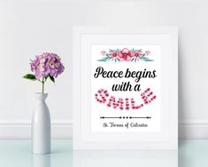 Mother Teresa Quote Print Peace Begins with a Smile Catholic   Etsy Saint Teresa Of Calcutta, Quote Prints, Art Prints, Saints, Mother Teresa Quotes, Saint Quotes, Catholic Art, Color Calibration, Keep In Mind