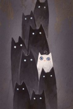 simple , effective watercolour illustration Apparently iphone wallpaper (from a Chinese site). I like the contrast. ghostly black cats with eerie eyes for your screen saver for halloween week at work . Cat Wallpaper, Iphone Wallpaper, Crazy Cat Lady, Crazy Cats, I Love Cats, Cute Cats, Illustration Art, Illustrations, Gatos Cats