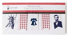 AMERICAN ICONS CAKE TOPPER BUNTING- 4th of July and election day cake decorations