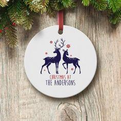 Personalised Loving Reindeers Round Ceramic Decoration