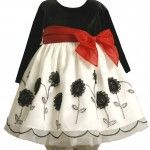 Bonnie Baby Infant Stretch Velvet Bodice To Embroidered Organza Skirt