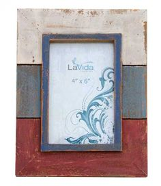 Washed Looking Photo Frame - Red, White and Blue