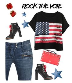 """""""Rock the Vote"""" by annbaker ❤ liked on Polyvore featuring Chicnova Fashion, Tod's, Kate Spade, Bloomingville, Balmain and Valentino"""