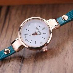Reloj Cuero Cuarzo Analógico Mujer-azul