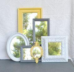 Yellow Grey/Gray White Ornate Upcycled 6 Mirrors by BeautiSHE, $88.00 - burnt orange, dark brown, and dark blues
