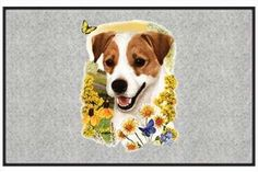 """Jack Russell Terrier - Sporting Dogs - Gray - Door and Welcome Mat by Express Yourself Mats. $24.88. Made in USA. Door Mat Size 27""""x18"""". Non-Skid Backing. Personalization Available (choose above) - EMAIL TEXT TO SELLER AFTER CHECKOUT. Great Gift Idea!. Enjoy the Jack Russell Terrier design heat pressed on this light-weight, low pile, woven polyester door mat. This decorative welcome mat measures 27 x 18 inches, is 1/8 inch thick and features a non-skid latex coa..."""