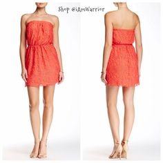NWT strapless lace mini dress or tunic top Brand new for spring! Gorgeous coral color. Fully lined, elastic waist, so feminine lace. Wear it as a mini dress as shown or as a strapless tunic top with your favorite leggings. Add a belt  or scarf around the waist for added flair. Price firm unless bundled! Please read my 'about me' closet policies prior to any offers/inquiries. Dresses Mini