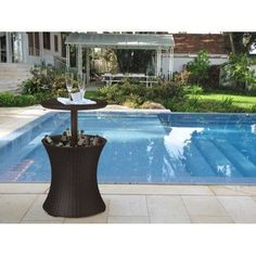 Outdoor Patio Ice Cooler Pool Party Bar Table Expandable Beverage Wicker Summer #Keter