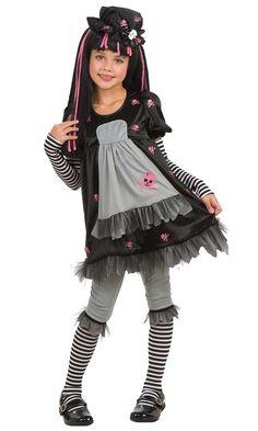 Costume gotico Black Dolly bambina: Travestimento gotico Black Dolly per femmina composto da abito, leggings, maniche, scaldamuscoli e cappello.Abito nero e grigio, teschi rosa stampati sul davanti, con un balzo in tulle nella parte...