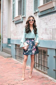 ASOS scuba lantern skirt 0 regular (runs small; also in petite), ASOS blouse 00pSaint Laurent bag (review), Steve Madden heels 5.5, Quay sunglasses (older style) Statement sleeves have been riding the
